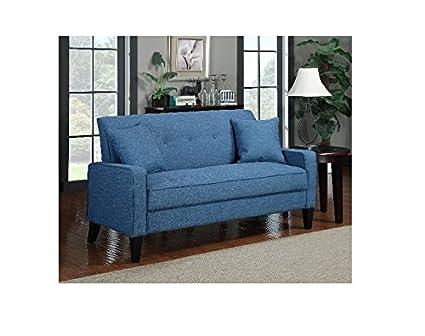Portfolio Ellie New Caribbean Blue Linen Sofa