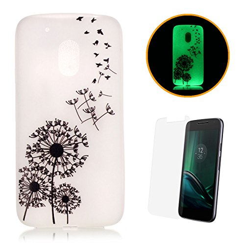 iPhone SE/5S/5 Custodia Luminoso, con protezione schermo,], CaseHome creative design unico motivo stampato effetto fluorescente Night Glow in the Dark Ultra Sottile Trasparente Morbida Bumper in gel di silicone TPU Custodia Protettiva per Apple Iphone SE/5S/5-Gold piuma (dare to dream) Birds Dandelions Motorola Moto G4 Play