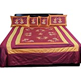 Ufc Mart Maroon Orange Silk Double Bed Spread With 4 Pillow Cover, Color: Orange, #Ufc00341