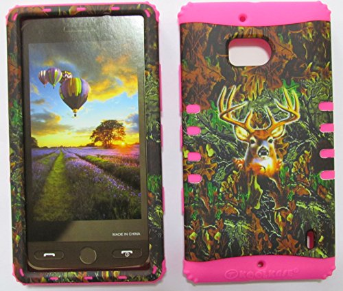 NOKIA LUMIA ICON CASE HUNTER FOREST CAMO DEER MOSSY OAK MA-WFL025 HEAVY DUTY HIGH IMPACT HYBRID COVER MAGENTA HOT PINK SILICONE SKIN NK929 (Nokia Lumia Icon T Mobile compare prices)