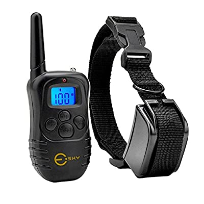 Esky Backlight Rechargable 330YD Remote Dog Training Shock Collar Beep Vibration Electric Collar