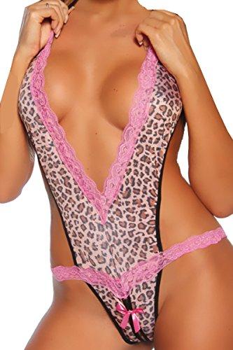 HO-Ersoka String-Body mit tiefem V-Ausschnitt leopard Einheitsgröße