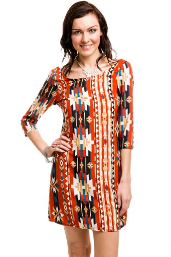 Boat Neck Tribal Zip Dress In Multi-Colored Burnt Orange