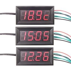 "DROK® 0.56"" Multifunction Car Clock/Time Thermometer Digital 0-33V Voltmeter 3 in 1 MCU Red LED Electronic Meter"