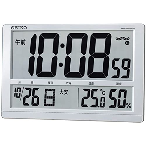 (세이코 clock) SEIKO CLOCK 전파 벽 시계 탁상시계 겸용 SQ433S 6 요날짜 요일 온도 습도 은색 펄 도장 디지탈-