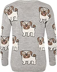 WearAll Women's Multi Pug Dog Print Long Sleeve Crew Neck Knitted Top Ladies Jumper 8-16