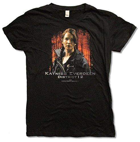 "Juniors The Hunger Games ""Katniss Everdeen"" Black Baby Doll T-shirt (Large)"