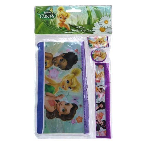 Disney Fairies Tinkerbell 4 Piece Personalized Study Kit/stationery Set, School Supplies with Ruler, Pencil Pouch, Sharpener, and Eraser