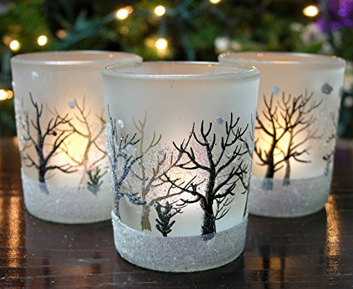 Glittery Winter Trees And Snow Set Of 3 Frosted Glass Votive Candle Holders With Three Flameless Flickering Led Tealights Included