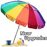 EasyGo Beach Umbrella - Giant 8' Rainbow Beach Umbrella Heavy Duty Design Includes Sand Anchor & Carry Bag