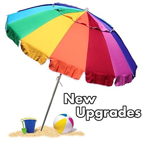 EasyGoUmbrella - Giant 8' Rainbow Beach Umbrella Heavy Duty Design Includes Sand Anchor & Carry Bag