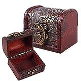 Hofumix Jewelry Box Vintage Wood Handmade Box with Mini Metal Lock for Storing Jewelry Treasure Pearl (Color: Brown, Tamaño: Small)