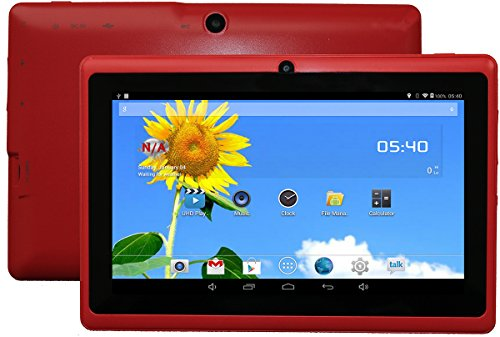 DanCoTek 7-inch 8GB Android4.4.2 Dual Core 1.5GHz A23 CPU Bluetooth WiFi Dual Camera Capacitive Touch 800*480 External 3G Compatible 512MB RAM Tablet PC (Red)