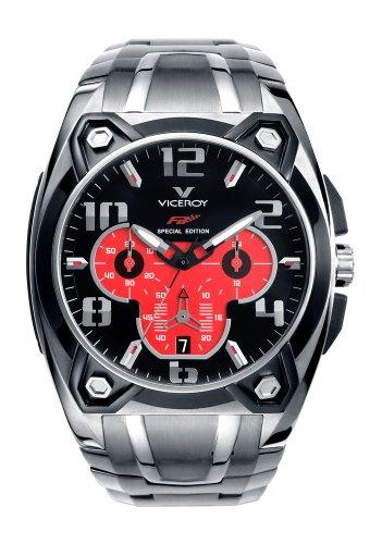 Viceroy Fernando Alonso Collection Men's Crono Watch 47625-75 With Stainless Steel Bracelet Black Pvd Bezel