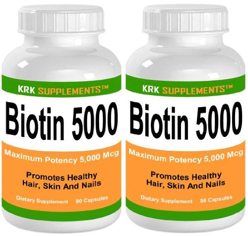 2 Bottles Biotin 5000Mcg 180 Total Capsules Krk Supplements