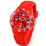 Alienwork Chronos Quartz Watch Water Resistant 5ATM Wristwatch Silicone red red
