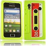 Retro Cassette Silicone Case Cover Shell For Samsung Galaxy Ace S5830 / Neon Green
