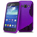 Samsung Galaxy ACE 3 i7272 Purple S Line Silicone Grip Series Wave Gel Case Skin Cover Screen Protector & Polishing Cloth BY MOBILE JOY