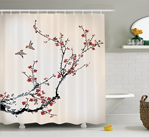 Shower Curtains cherry blossom shower curtains : Pretty Cherry Blossom Shower Curtain