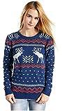 CHRISTMAS Sweater / Cardigan, with Various Lovely Patterns of Reindeer / Snowman / Snowflakes / Tree (L, Deer&Snowflake-Blue)