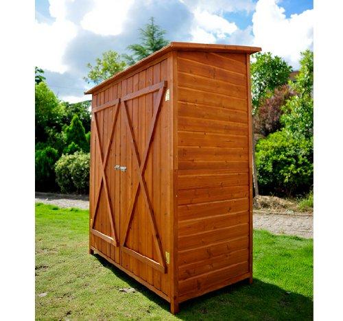 Outsunny casetta per esterno in legno ripostiglio da giardino armadio esterno 159x125x65 cm - Mobile terrazzo legno ...