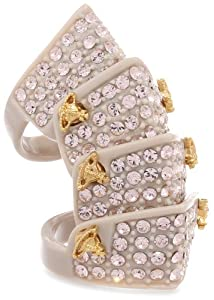 Vivienne Westwood Resin Bone Pave Armour Ring, Size 7