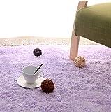 長方形 四角 シャギー ラグ エクセレント ムーティー マット ラグ マイクロファイバー 滑り止め付き 丸洗い 折り畳み 可能 ホットカーペットカバー 床暖房 対応 やわらか 絨毯 防音 低反発 高反発 (140*200, 紫色)