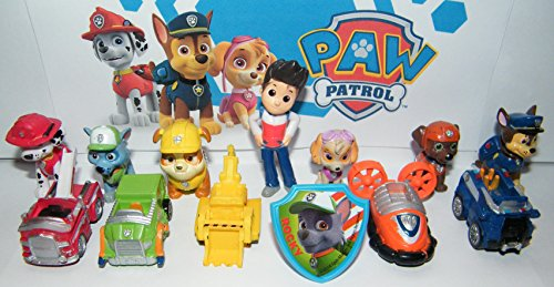 Nickelodeon PAW Patrol Toy Figure Set of 13 with the 6 Puppies, 5 Vehicles, Ryder and a Special (About A Boy Characters)