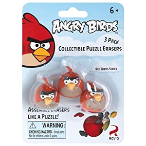 Angry Birds Red Bird Collectible Puzzle Erasers - 3 pack