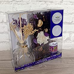 Devinez Reed Diffuser Gift Set with Potpourri, 2 Tealight Candles Lavender Fragrance