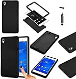 Magic Global Gadgets - Black Front and Back Full Body Protector Hard Armour Hybrid Shock Proof Case Cover For Sony Xperia Z3 (D6603 / D6643 / D6653 / D6616 / D6633) With Built In Screen Protector - Full Dual Layer All Around Protection Cover + Mini Capac