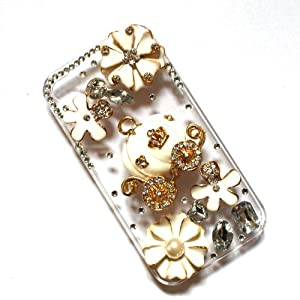 niceeshop(TM) 3D Bling Crystal Cinderella's Pumpkin Cart and Flower Stone Case Cover for iPhone 5 5S +Screen Protector
