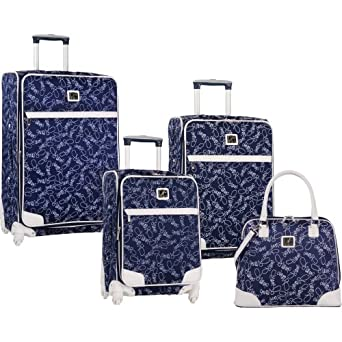 Diane Von Furstenberg Luggage Color On The Go Four Piece Luggage Set, Navy/White, One Size