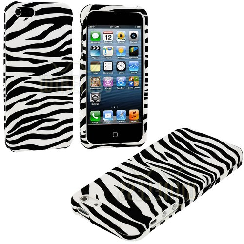 Mylife (Tm) White + Black Zebra Stripes Series (2 Piece Snap On) Hardshell Plates Case For The Iphone 5/5S (5G) 5Th Generation Touch Phone (Clip Fitted Front And Back Solid Cover Case + Rubberized Tough Armor Skin + Lifetime Warranty + Sealed Inside Mylif