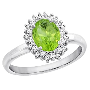 10K White Gold Natural Peridot Ring Oval 7x5mm Diamond Accents, size 8