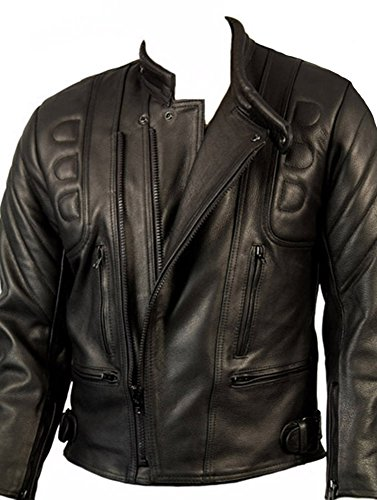 CE Armoured Mens Leather Motorcycle Jacket By Skintan - Black 4XL - 50
