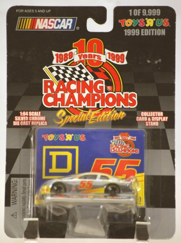 1999 - Racing Champions 10Th Anniversary Special Edition - Nascar - #55 Kenny Wallace - D Square - Silver Chrome Die Cast - W/ Collector Card & Display Stand - 1 Of 9,999 - Exclusive Toys R Us Edition - Oop - Limited Edition - Collectible front-755069
