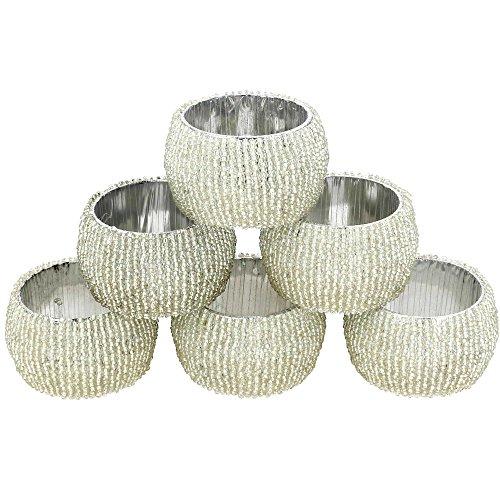Perles Lot de 6ronds de serviette de table décoratives