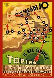 """Amazon.com: Italy Italia Map Torino Train Road Gran Paradiso 12"""" X 16"""