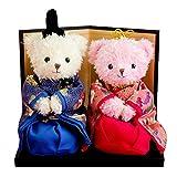 [幸せよぶ、くまのおひなさま] 出産祝い 女の子 誕生日プレゼント ラッピング付き テディべア ぬいぐるみ 雛人形 平飾り 親王飾り ひな人形 1歳 2歳 3歳 ミニ 風水