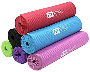 "Fit Spirit® Yoga Starter Set Kit - Includes 6MM 1/4"" or 3MM 1/8"" Inch PVC Exercise Mat and Optional Yoga Block, Yoga Towels & Yoga Strap - Choose Your Color & Accessories"