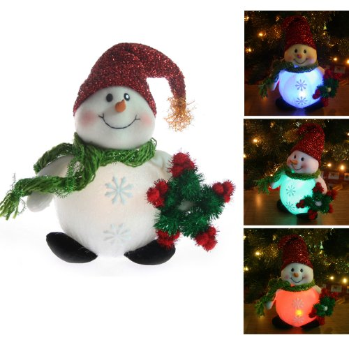 Pre-Lit Colour Changing LED Snowman with Christmas Wreath Window / Table Decoration - Height 23cm