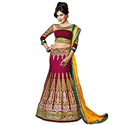 Resham Fabrics Maroon Net Embroidered Bridalwear Semi Stitched Wedding Lehenga Choli