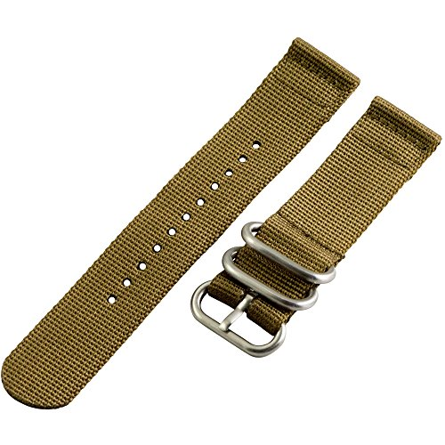 22Mm Desert Khaki 2 Piece 3-Ring Ss Heavy Nato Nylon Replacement Watch Strap / Band