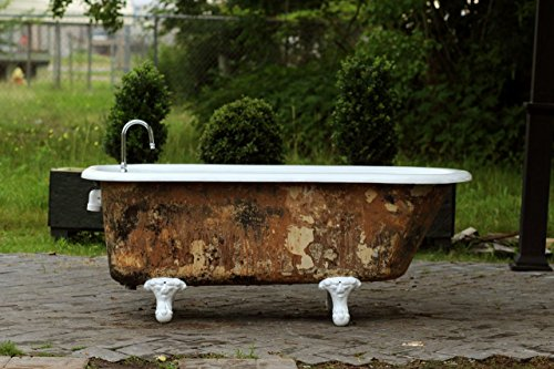Antique Refinished 5u0027 Clawfoot Bathtub Mottled Umber Original Patina  Exterior Cast Iron Porcelain Claw Tub Package