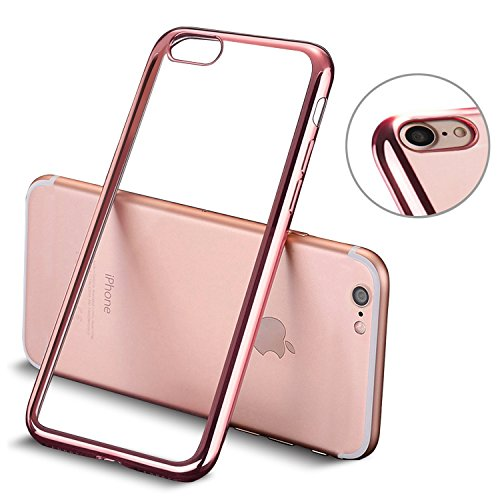 iPhone 7 Funda, Mture Apple iPhone 7 Transparente Funda Carcasa Case Bumper Delgado Enchapado TPU Funda Cover anti golpes Anti-Arañazos Para iPhone 7 (Oro Rosa)
