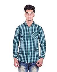 Cotblend Men's Casual Shirt (COTBLEBD32-M, Blue, M)