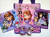 One Disney Sofia the First Reusable Tote 15 X 13 X 6 + One Sofia 2015 Calendar (16 Month) + One Sofia Sparkling Scratch & Reveal + One 24-piece Tin Box Puzzle + One Pocket Tissue (10 Pc, 3 Ply) + One Strip of Disney Sofia the First Stickers (Contains 6 Stickers, 1.5 X 1.5 Each). Bundle of 6 Items.