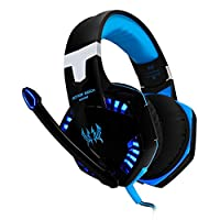[Latest Version Gaming Headset For PS4] VersionTech KOTION EACH G2000 USB 3.5mm Game Gaming Headphone Headset Earphone Headband with Mic Stereo Bass LED Light for PS4 PC Computer Laptop Mobile Phones - Blue