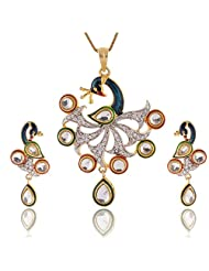 Yellow Chimes Collection: American Diamond Studded Pendant Set In Peacock Design - B00O6T4160